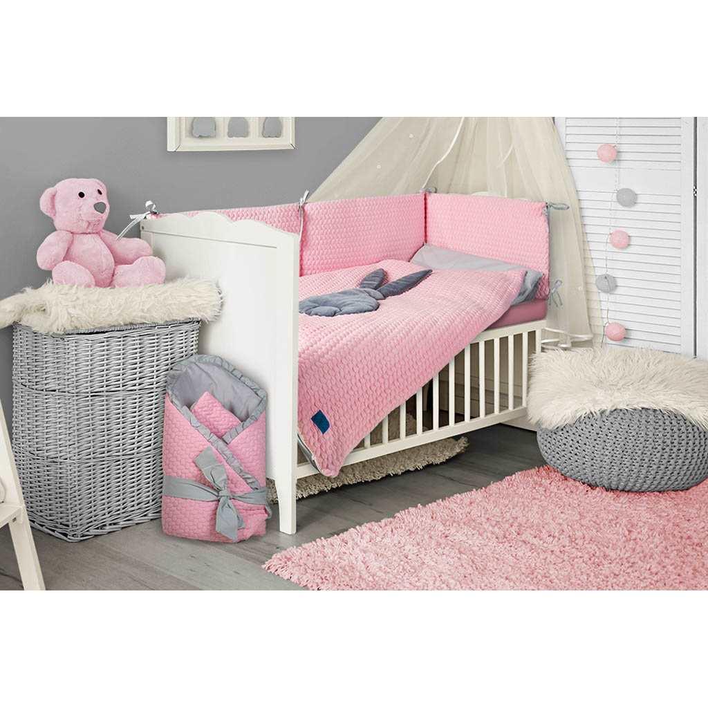 5-dielne posteľné obliečky Belisima Králiček 100/135 ružovo-sivé