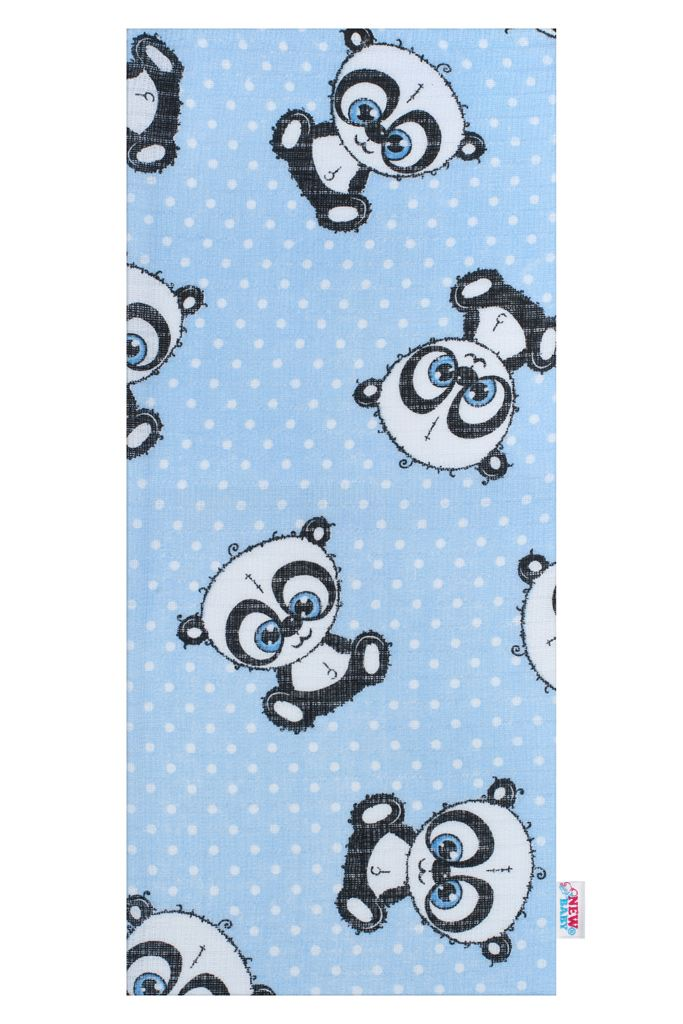 Bavlnená plienka s potlačou New Baby modrá panda s bielou bodkou