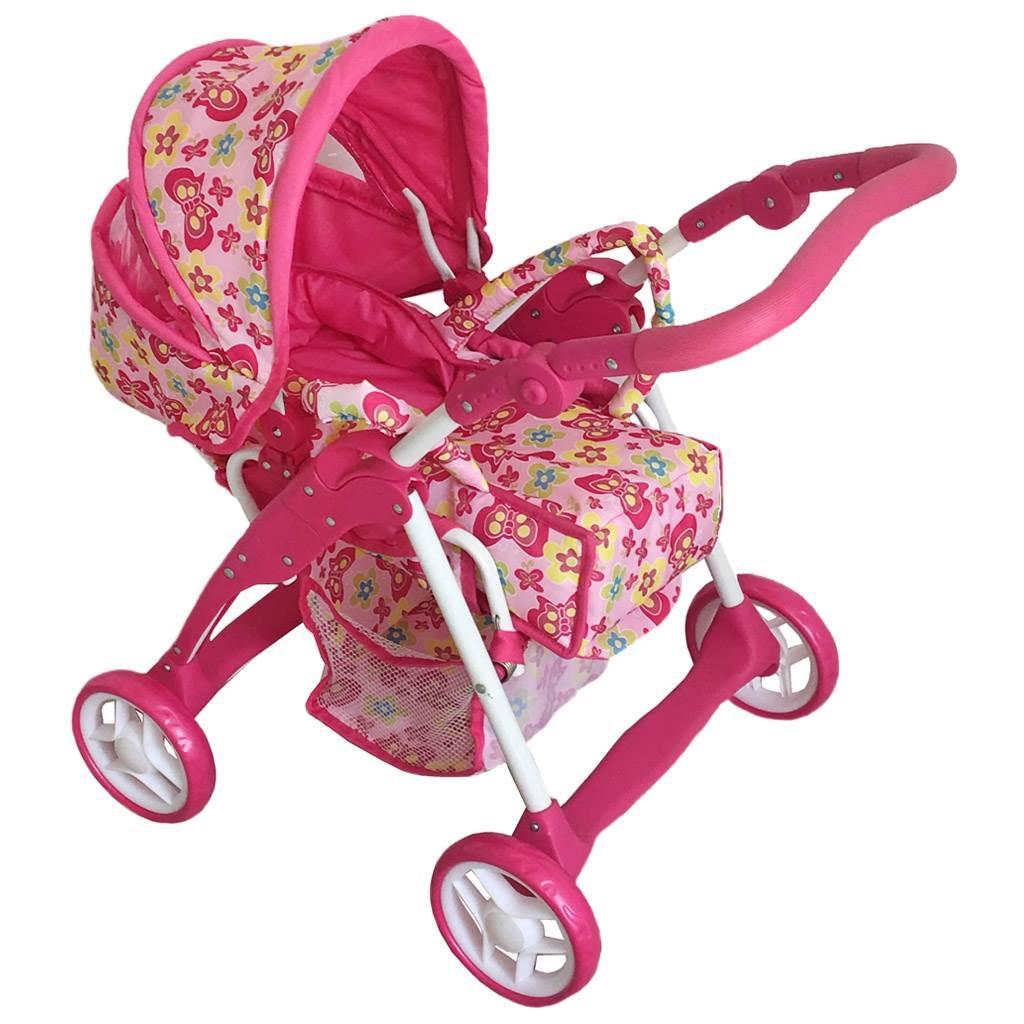 Detský kočík pre bábiky 2v1 Baby Mix ružový - motýli