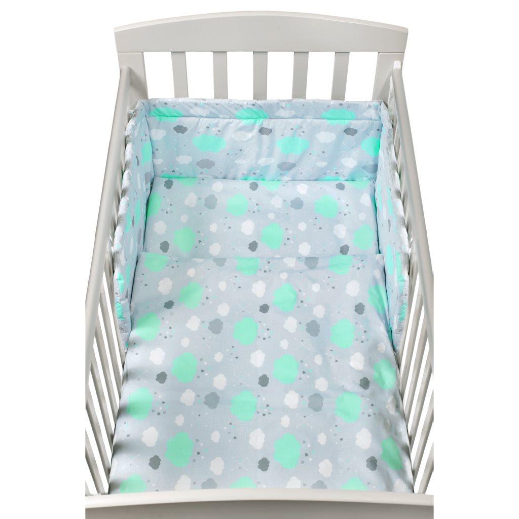 2-dielné posteľné obliečky New Baby 90/120 cm obláčiky mätové