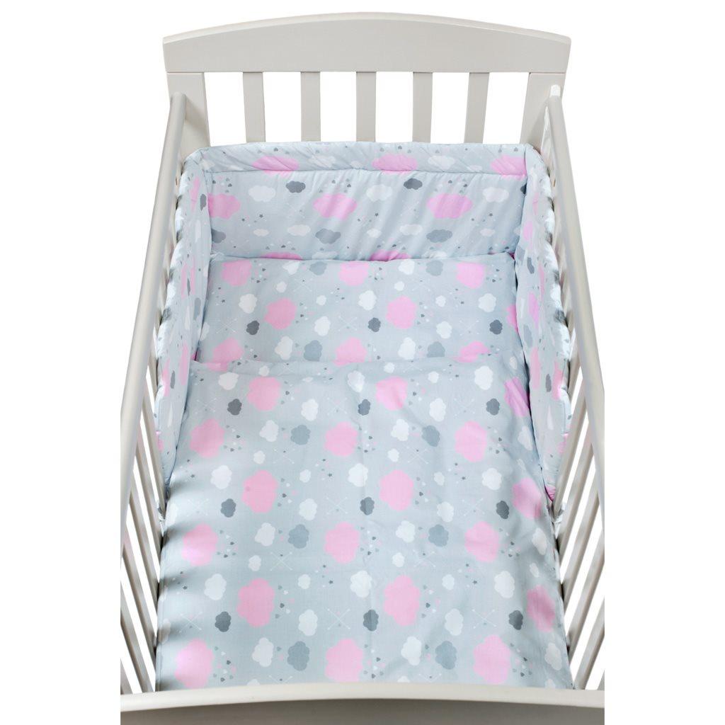 2-dielné posteľné obliečky New Baby 90/120 cm obláčiky ružové