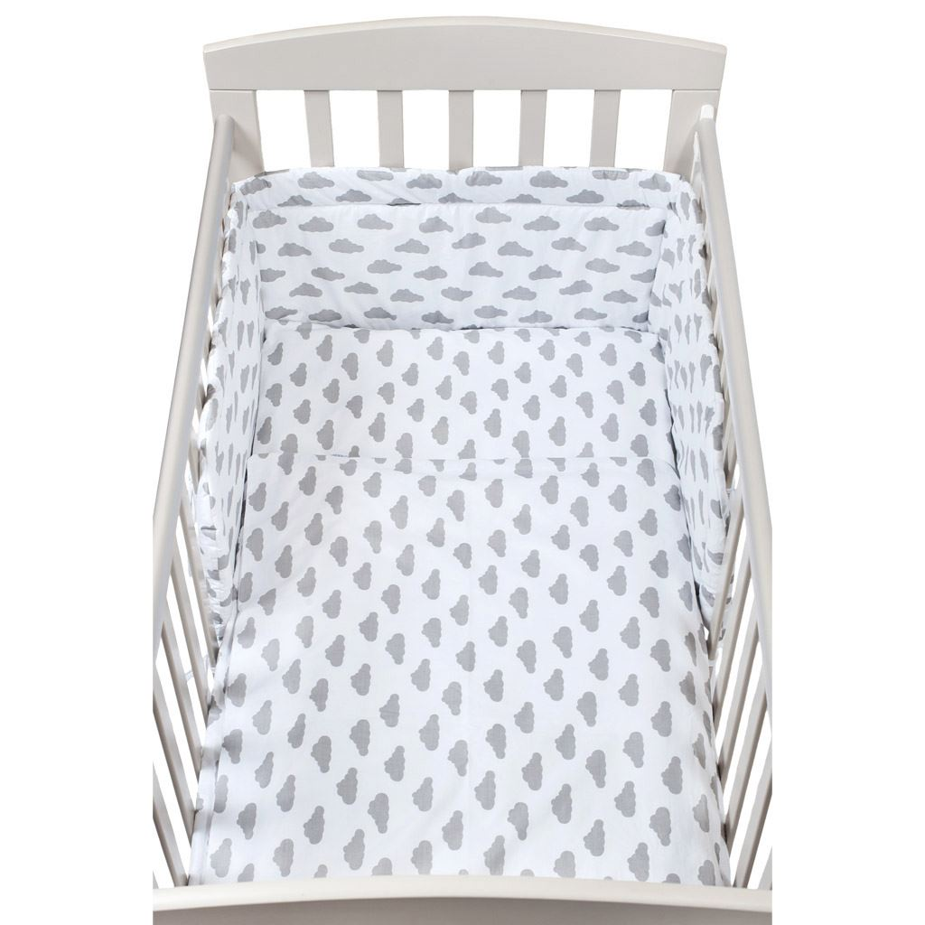 3-dielne posteľné obliečky New Baby 90/120 cm obláčiky sivé