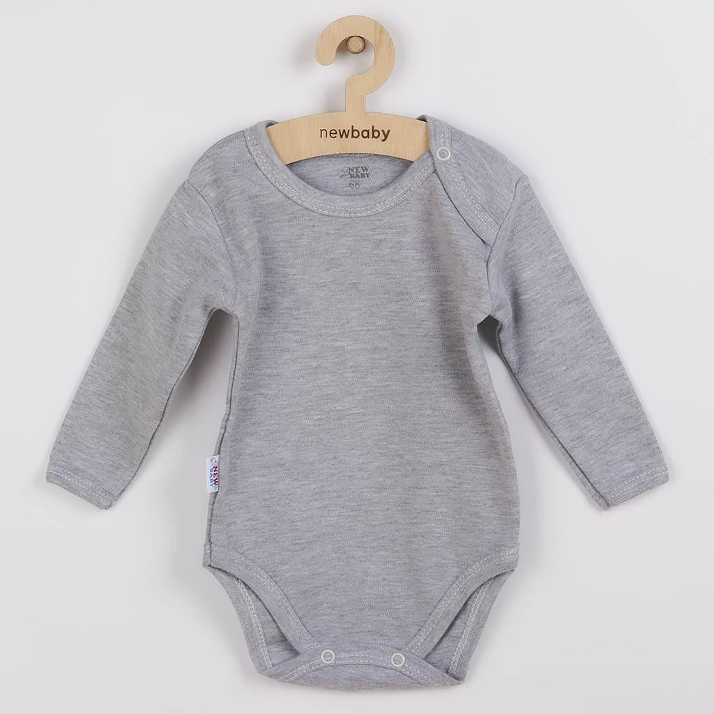 Dojčenské bavlnené body s dlhým rukávom New Baby Pastel sivý melír