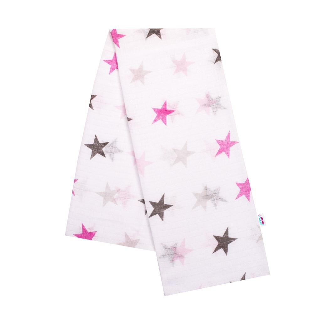 Bavlnená plienka s potlačou New Baby biela s ružovými hviezdami