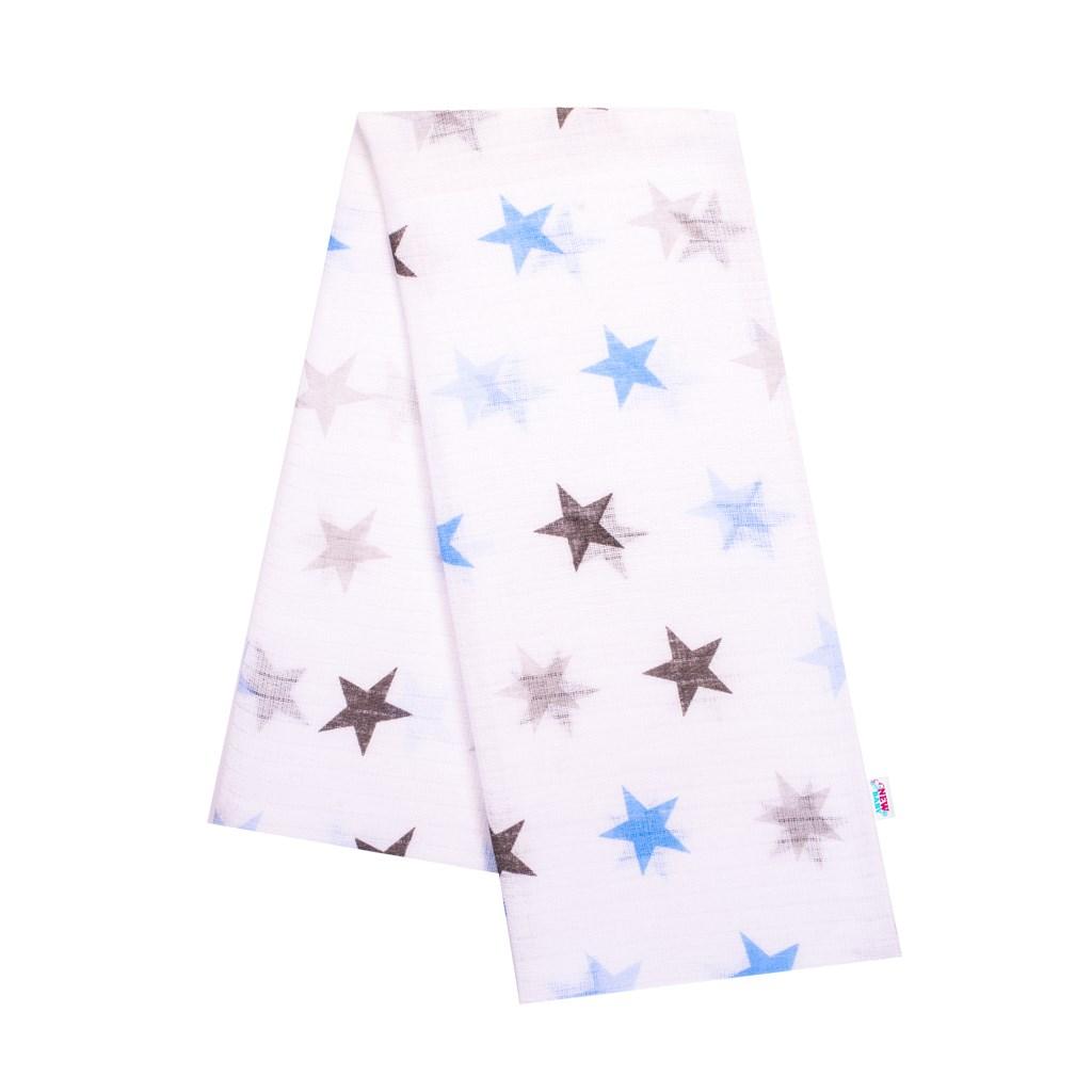 Bavlnená plienka s potlačou New Baby biela z modrými hviezdami