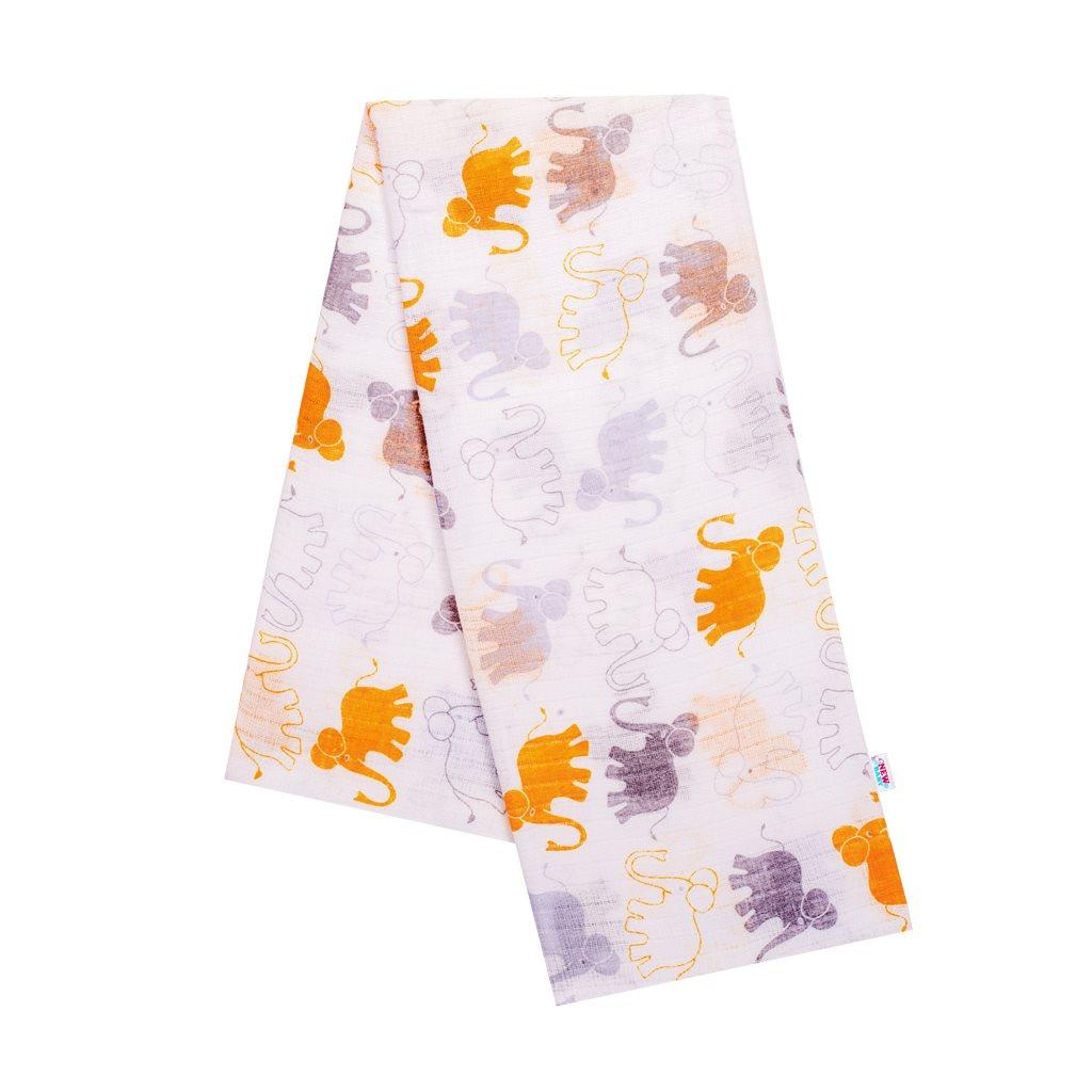 Bavlnená plienka s potlačou New Baby biela so žltými slonami