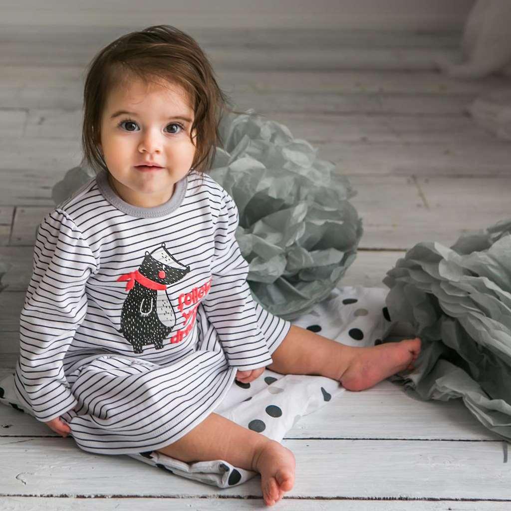 Dojčenské šatôčky Koala Jazvec s nápisom