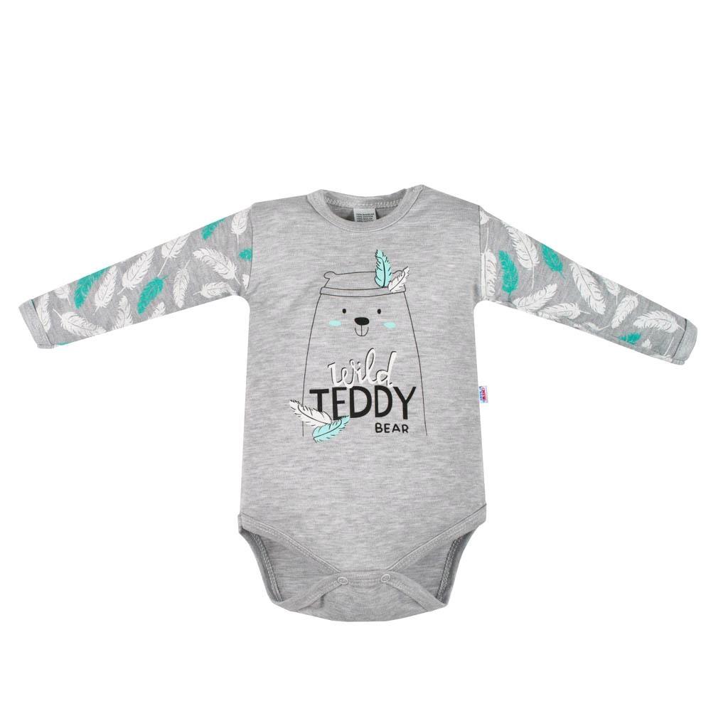 Dojčenské body s dlhým rukávom New Baby Wild Teddy