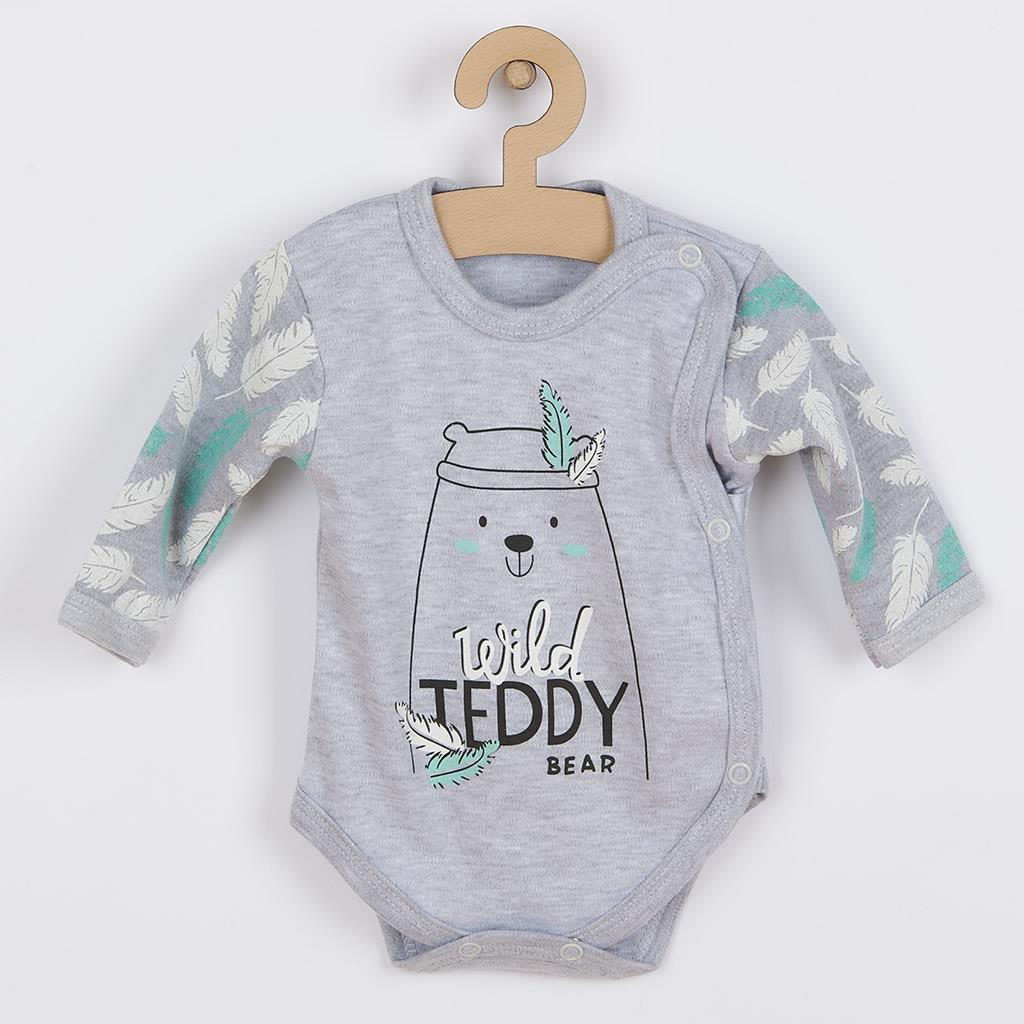 Dojčenské body s bočným zapínaním New Baby Wild Teddy-50