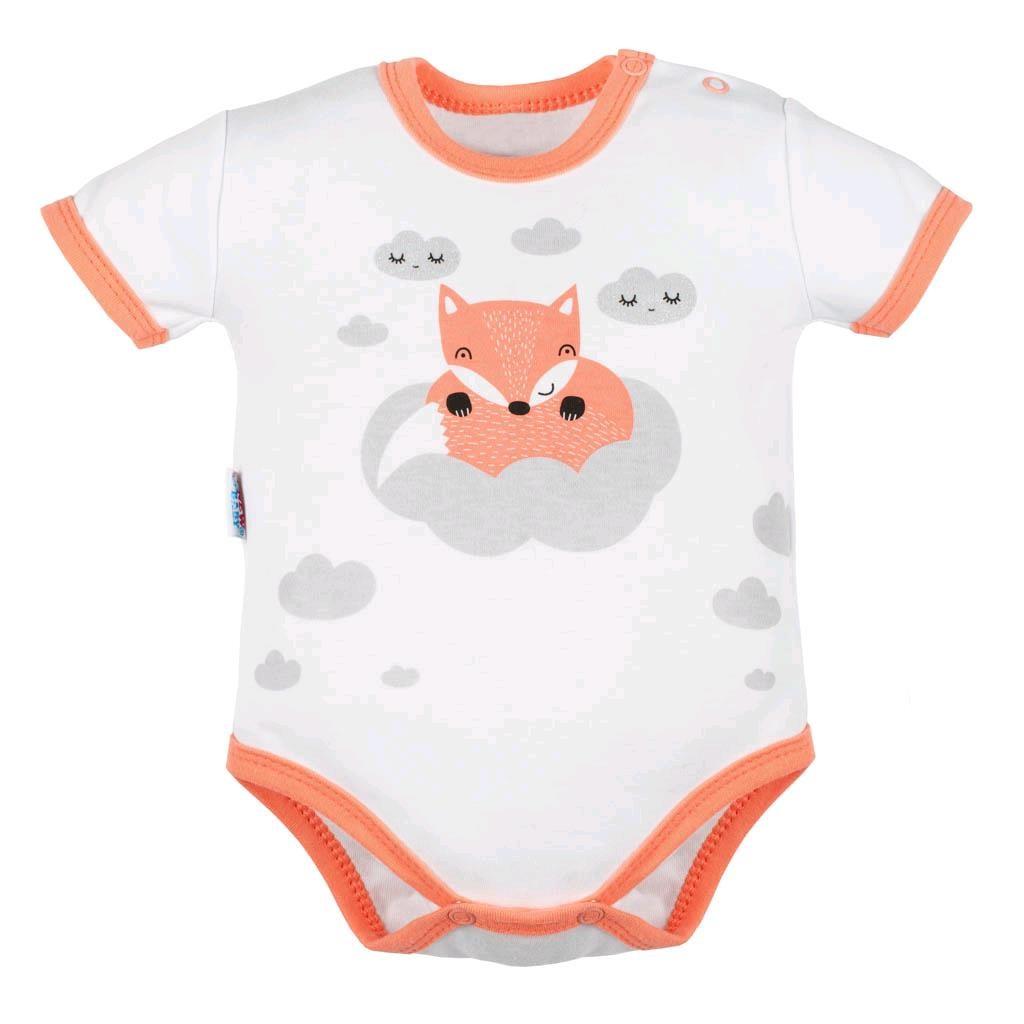 Dojčenské body s krátkym rukávom New Baby Líška lososová-86 (12-18m)