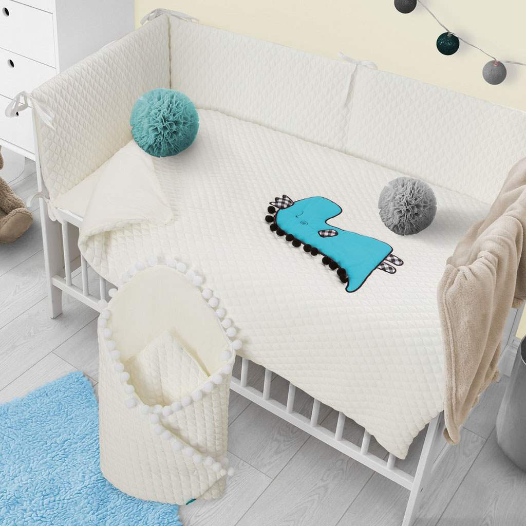 2-dielne posteľné obliečky Belisima Dino 3D 90/120 smotanovo-tyrkysové