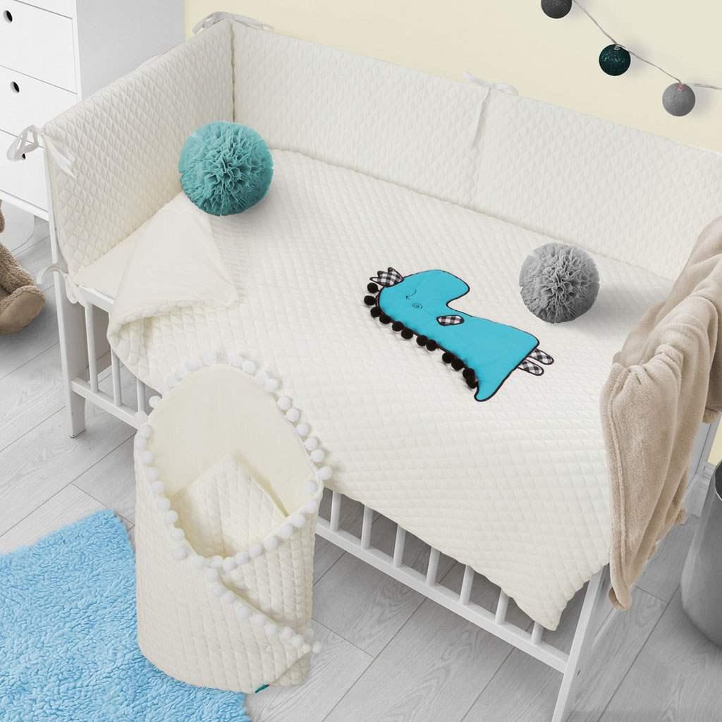 5-dielne posteľné obliečky Belisima Dino 3D 90/120 smotanovo-tyrkysové