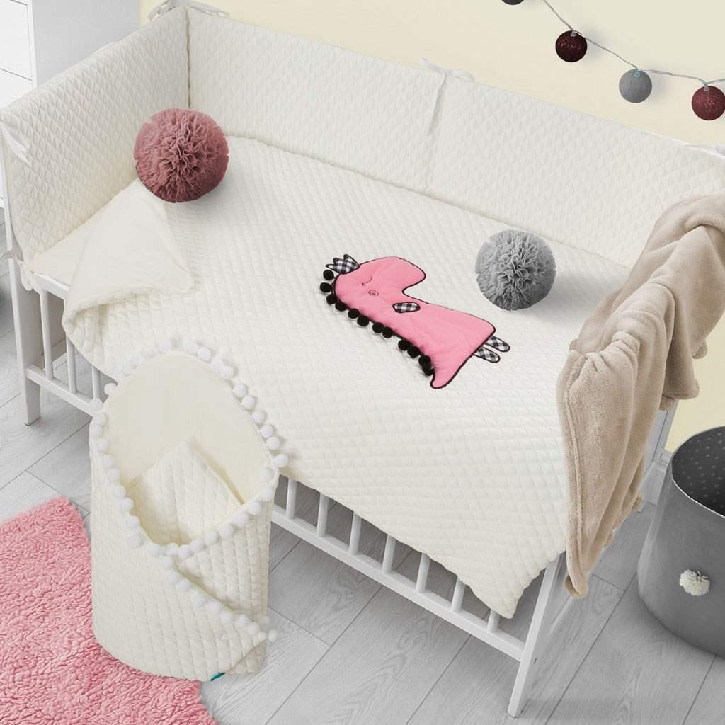 5-dielne posteľné obliečky Belisima Dino 3D 90/120 smotanovo-ružové
