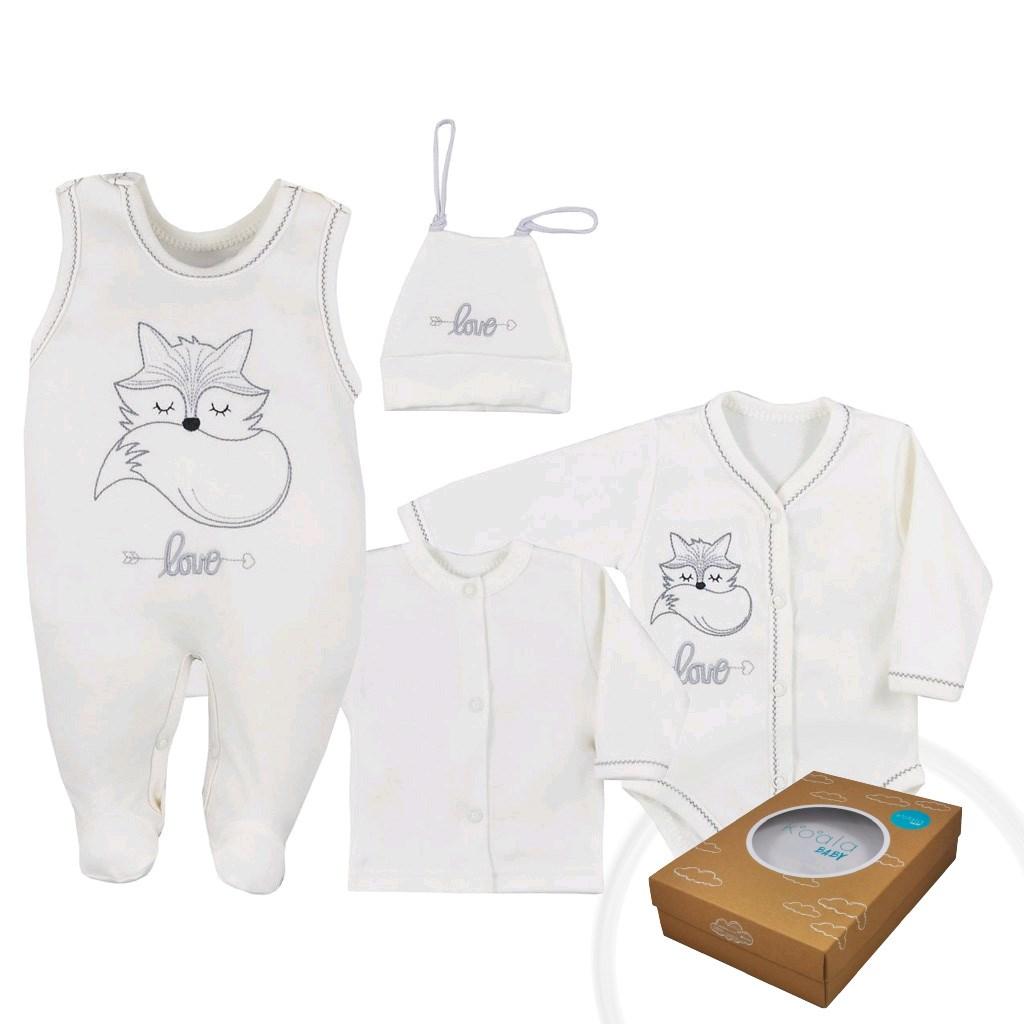 4-dielna dojčenská súprava Koala Fox Love smotanová-56 (0-3m)