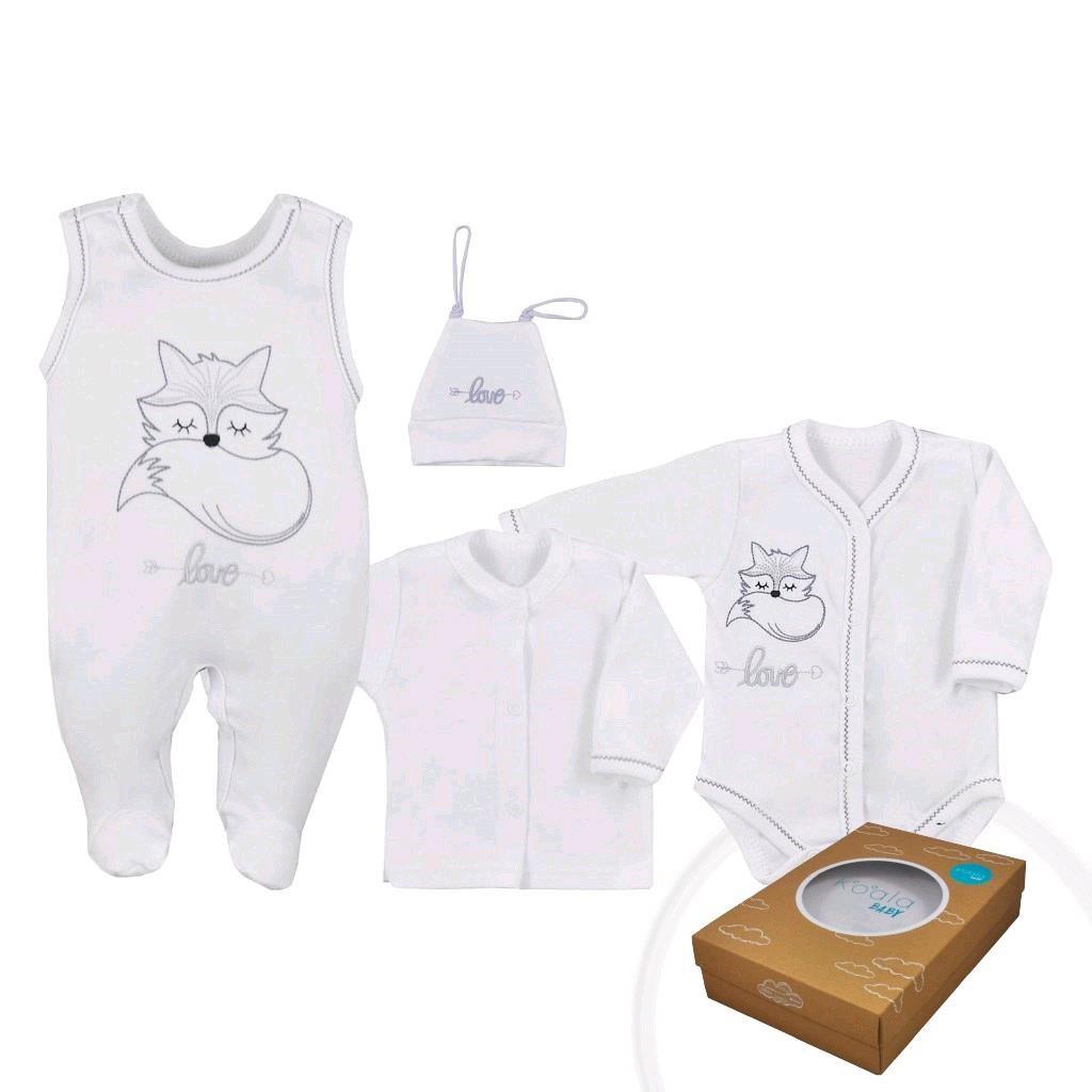 4-dielna dojčenská súprava Koala Fox Love biela-56 (0-3m)