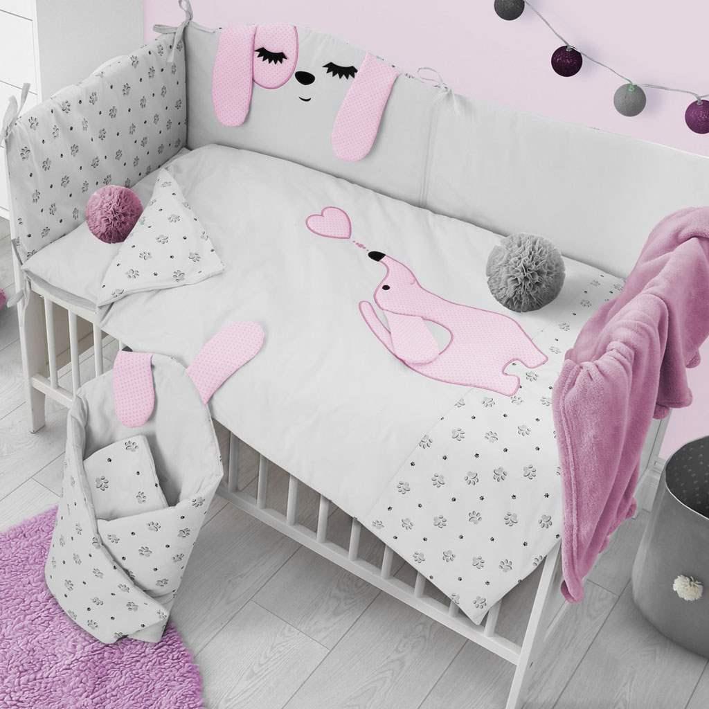 3-dielne posteľné obliečky Belisima Lovely Puppy 90/120 ružové