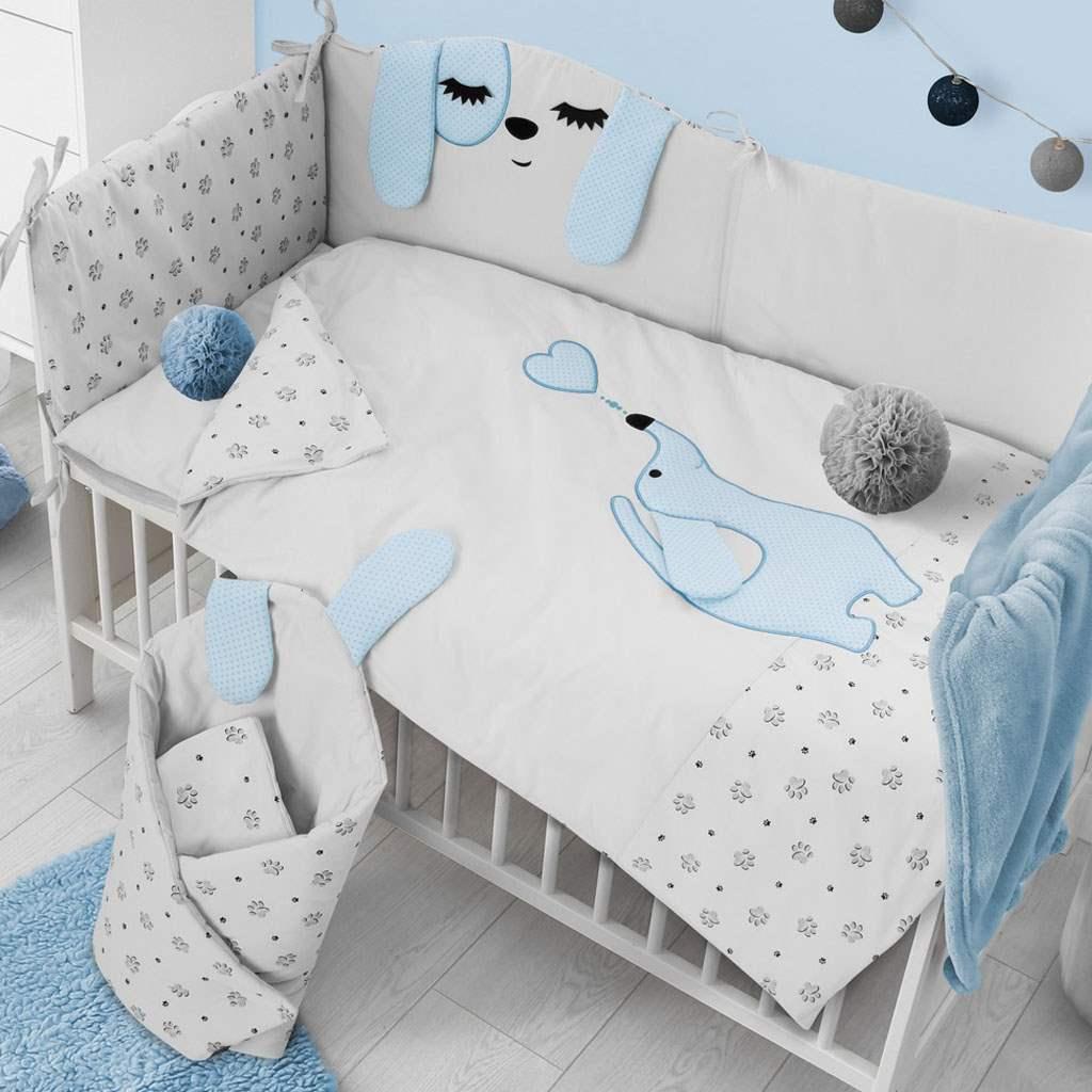 6-dielne posteľné obliečky Belisima Lovely Puppy 100/135 modré