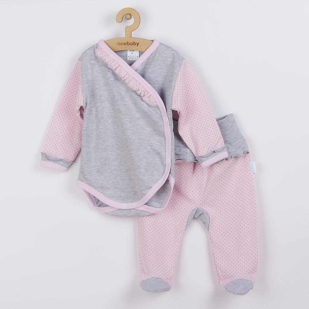 2-dielna dojčenská súprava New Baby Puntík II sivo-ružová