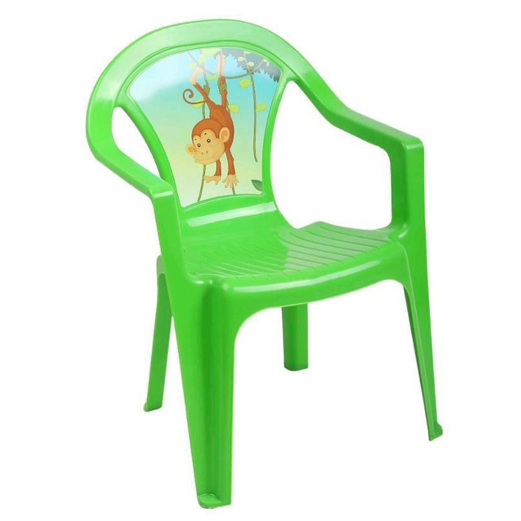 cf0442489c5d Detský záhradný nábytok - Plastová stolička zelená opica empty