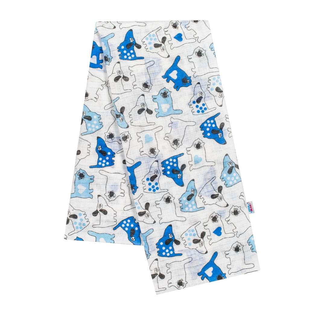 Bavlnená plienka s potlačou New Baby biela pes a mačička modrá