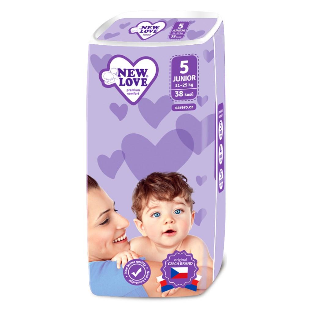 Detské jednorázové plienky New Love Premium comfort 5 JUNIOR 11-25 kg 38 ks
