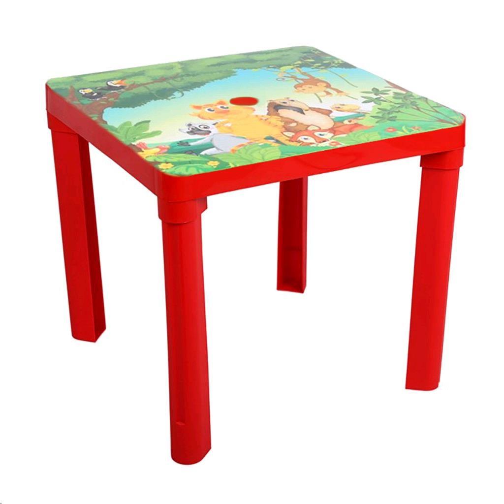 Detský záhradný nábytok - Plastový stôl safari červený