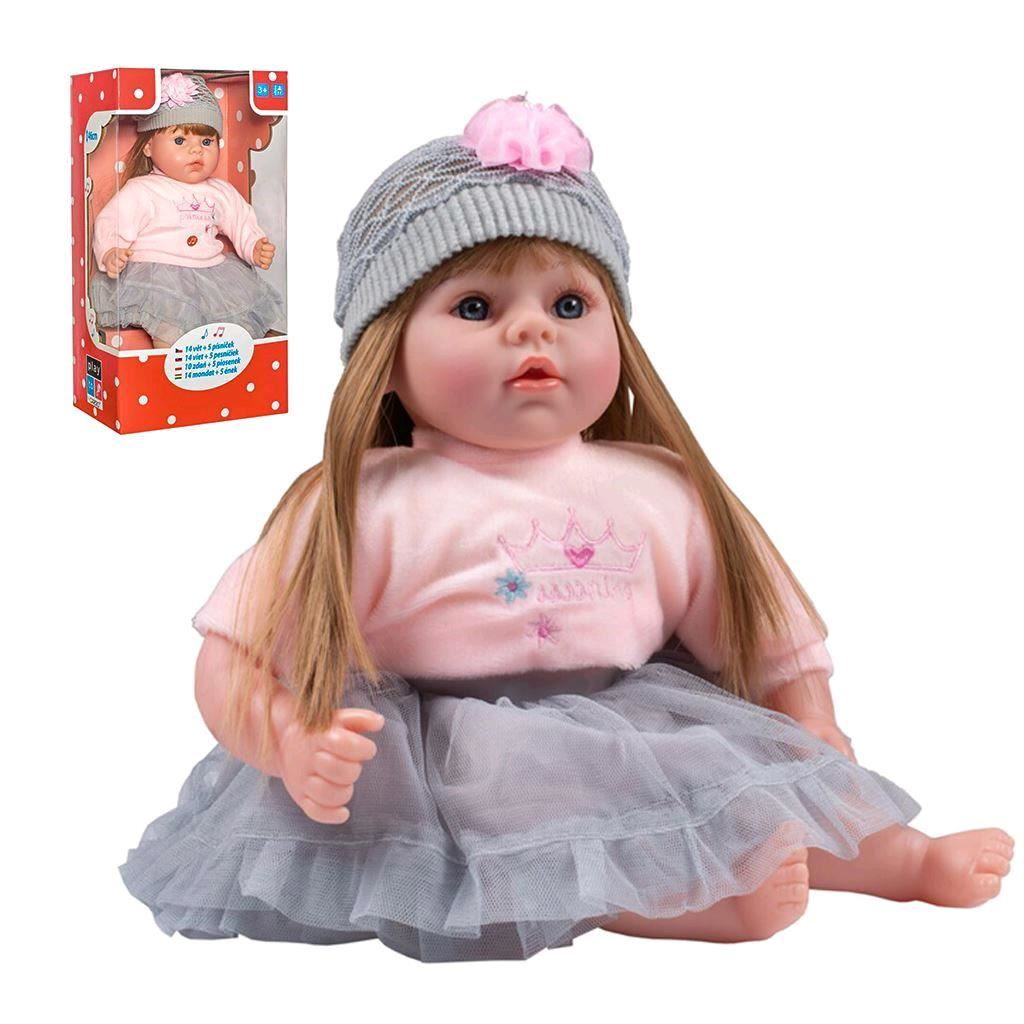 Slovensky hovoriaca a spievajúca detská bábika PlayTo Nina 46 cm, Sivá