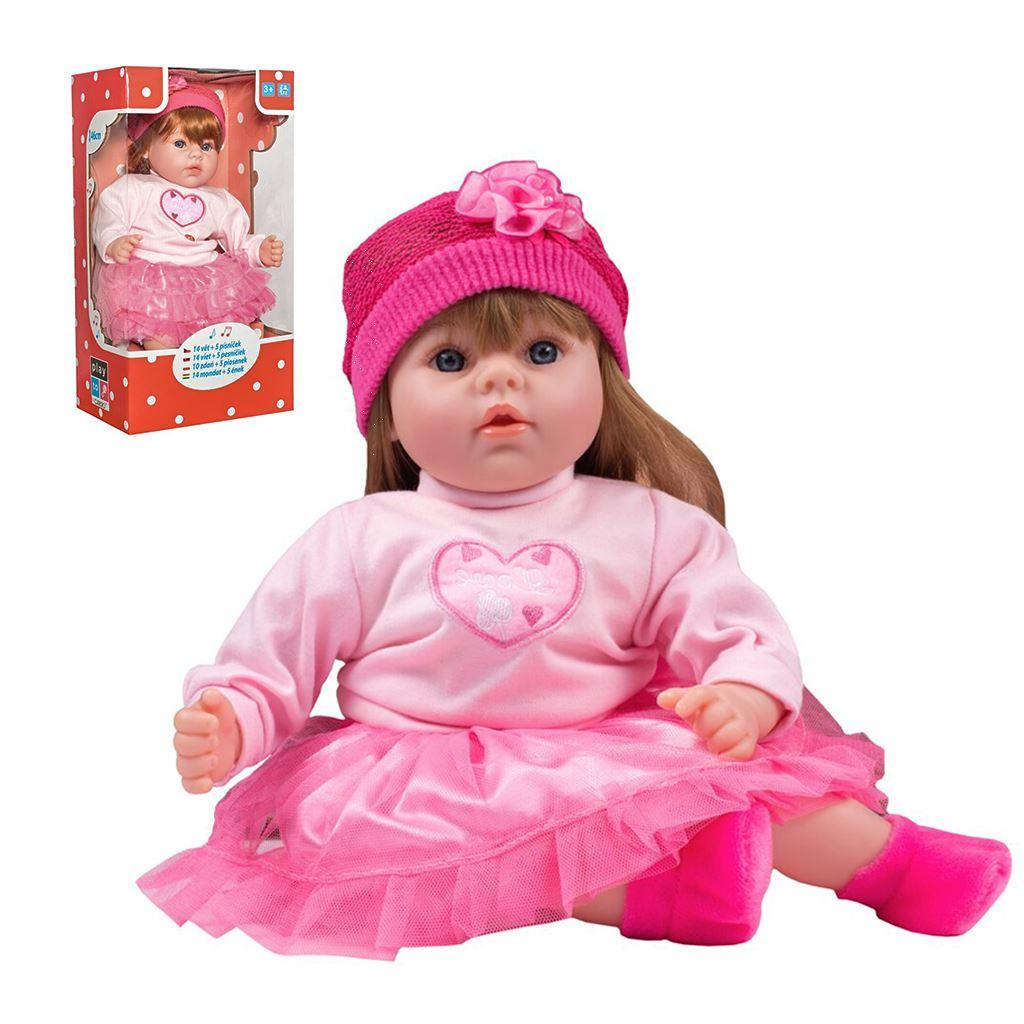 Maďarsky hovoriaca a spievajúca detská bábika PlayTo Tina 46 cm, Ružová