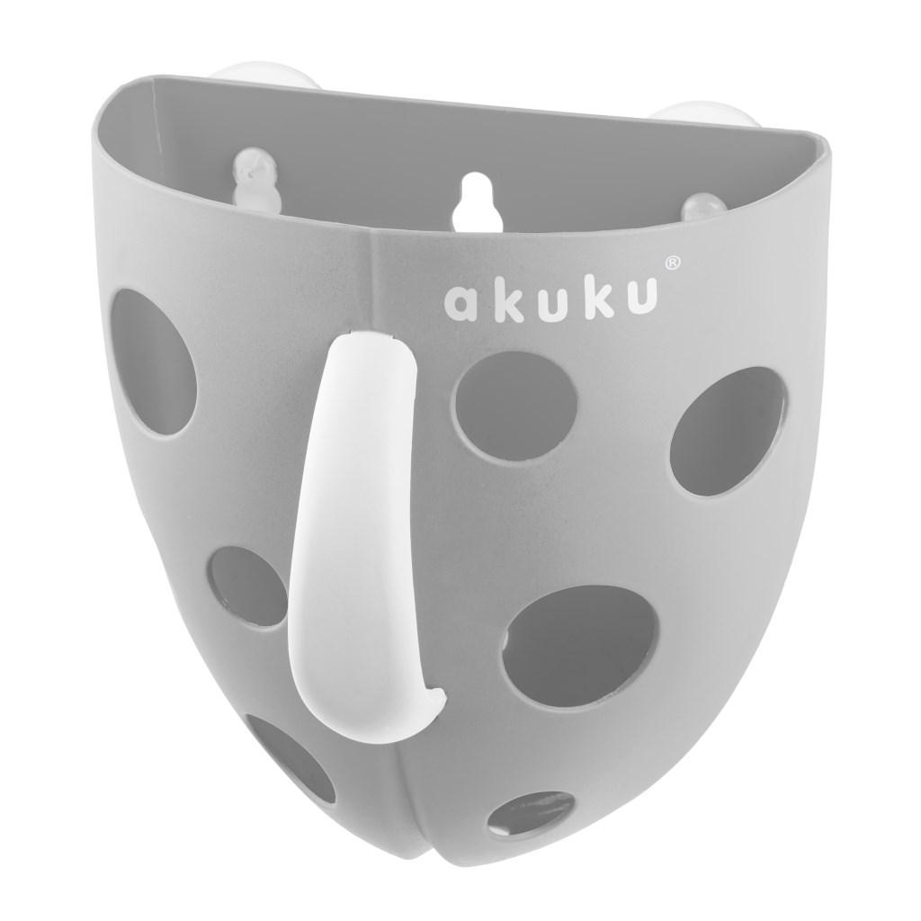 Plastový box na hračky do vane Akuku sivý