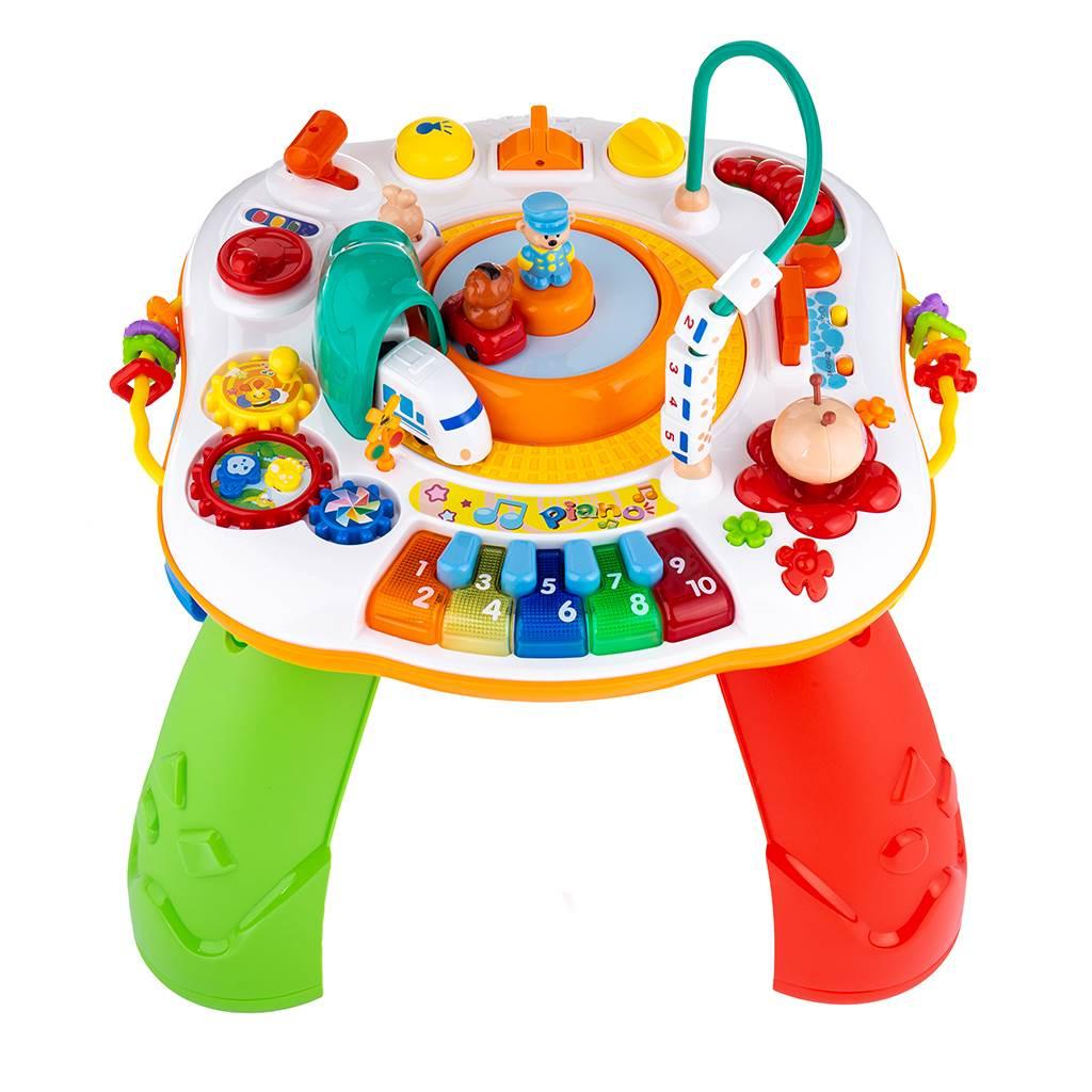 Hovoriaci a hrajúci interaktívný stolček New Baby s jazdiacim vláčikom CZ/SK