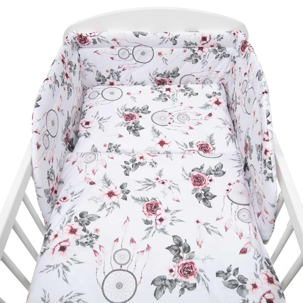 3-dielne posteľné obliečky New Baby 90/120 cm biele kvety a pierka