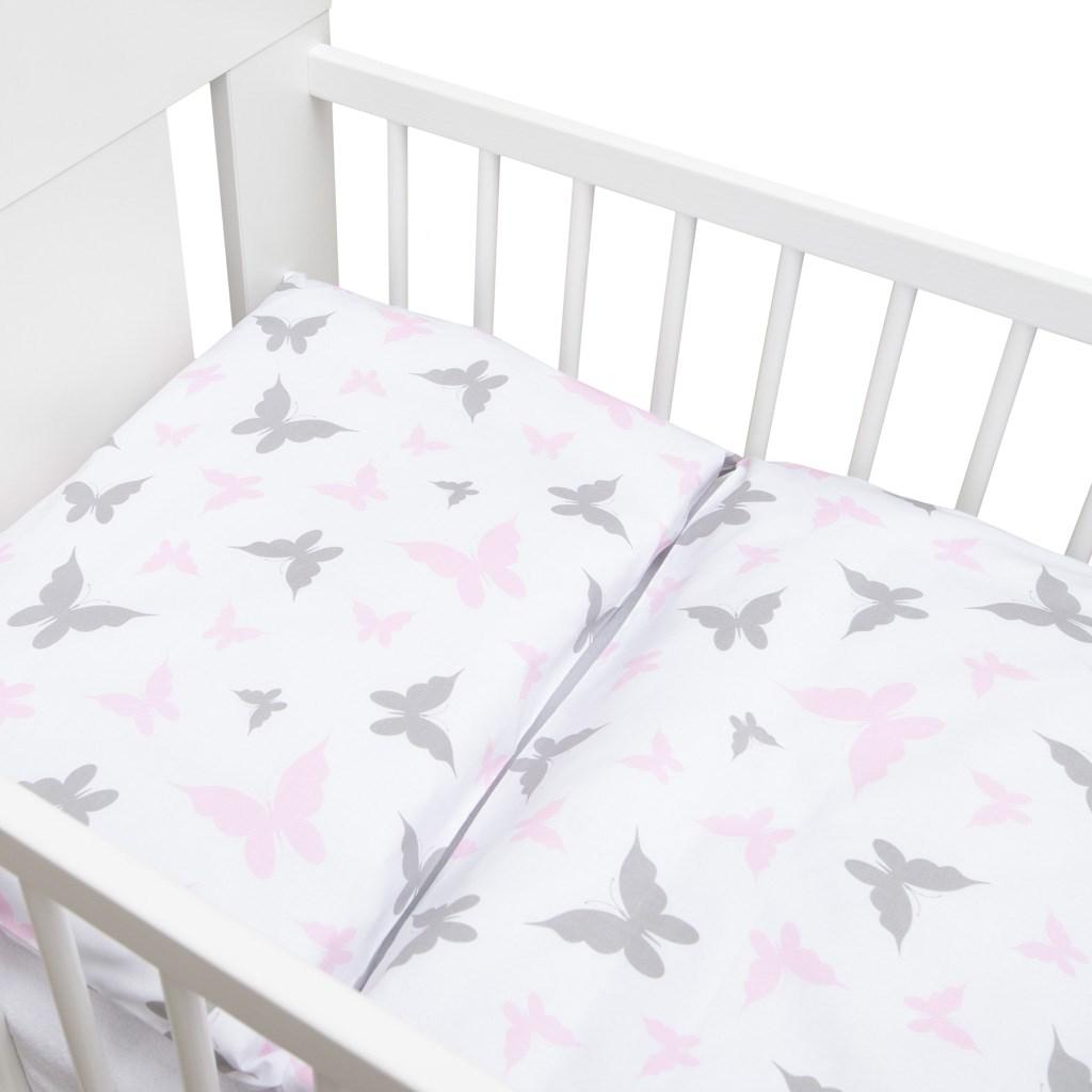 2-dielne posteľné obliečky New Baby 100/135 cm biele motýle
