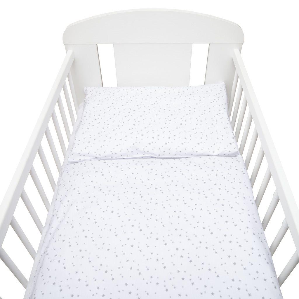 2-dielne posteľné obliečky New Baby 100/135 cm biele sivé hviezdičky