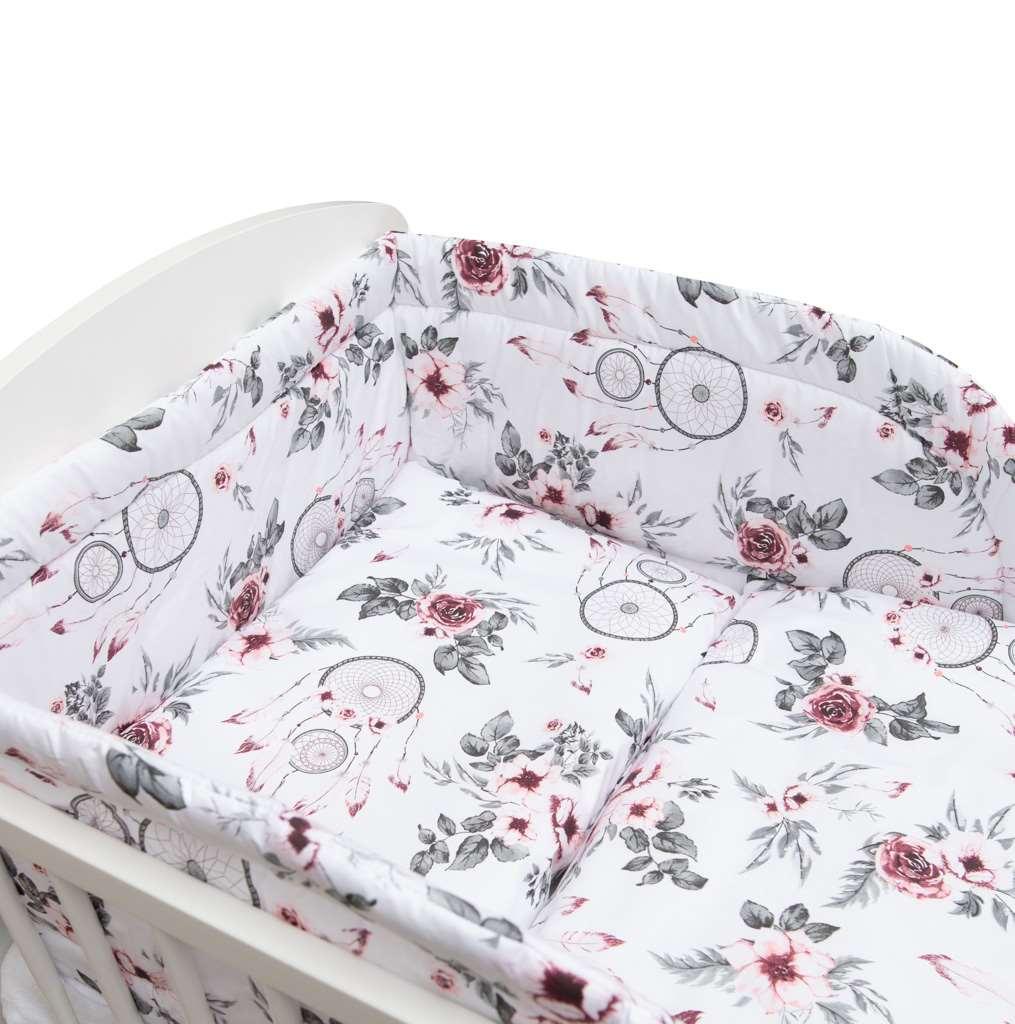 3-dielne posteľné obliečky New Baby 100/135 cm biele kvety a pierka