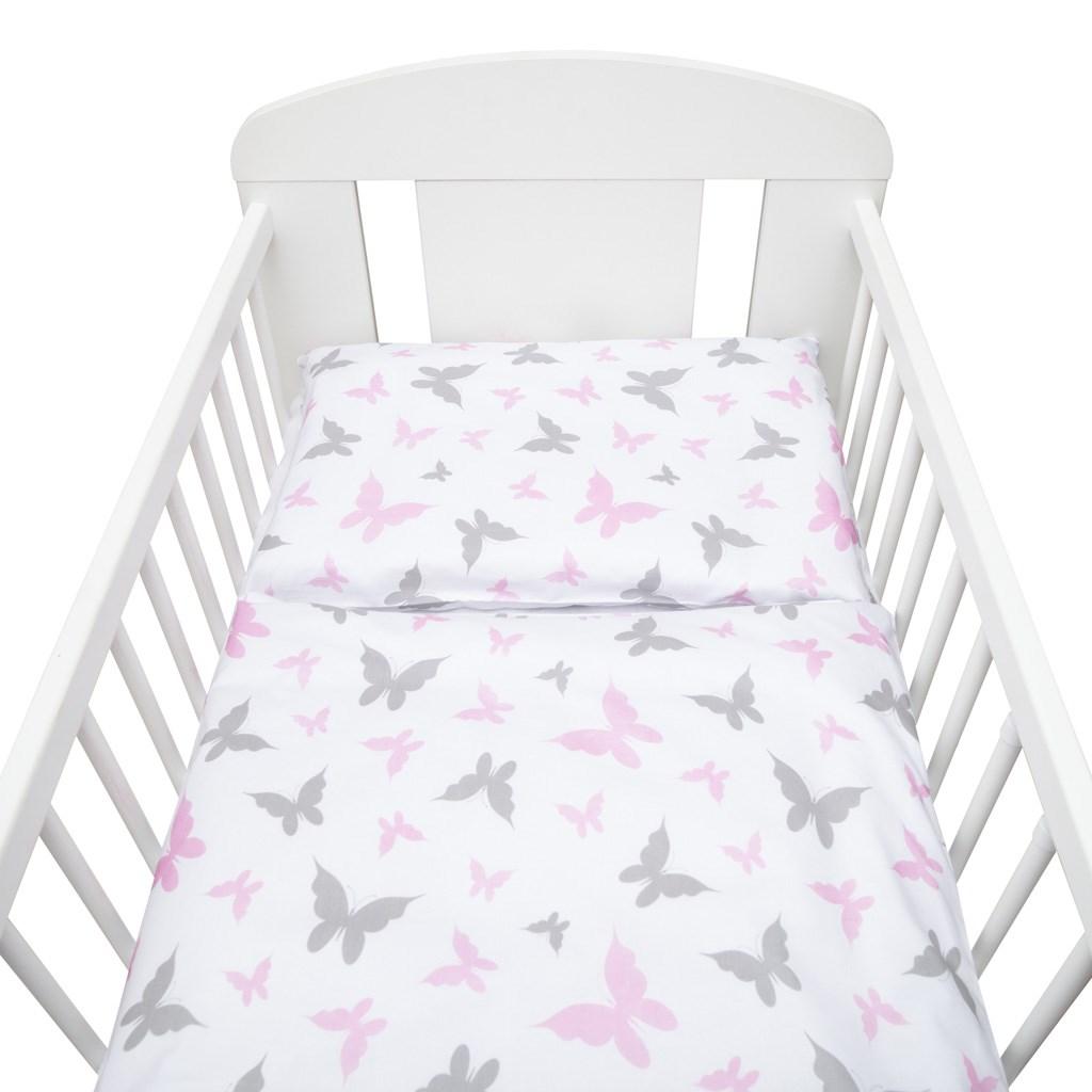 3-dielne posteľné obliečky New Baby 100/135 cm biele motýle