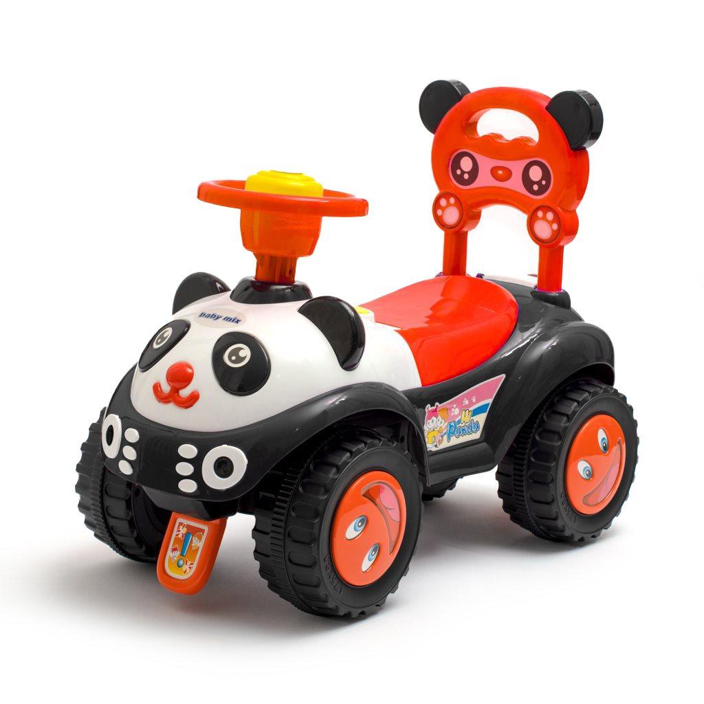 Detské odrážadlo so zvukom Baby Mix Panda čierne