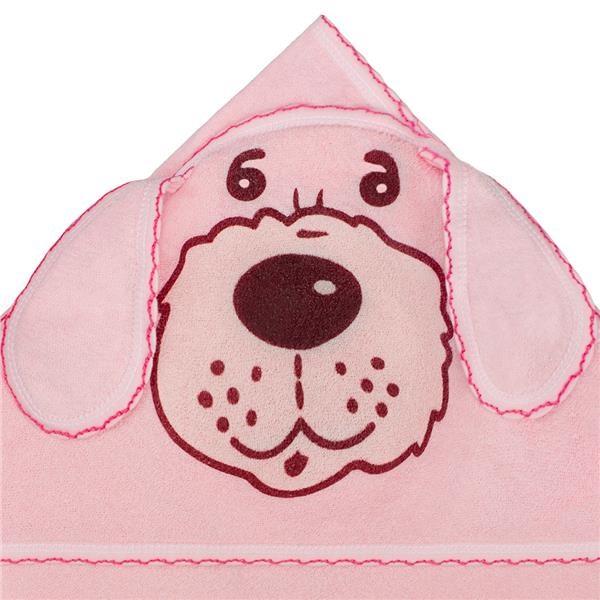 Detská froté osuška 80x80 psík ružová