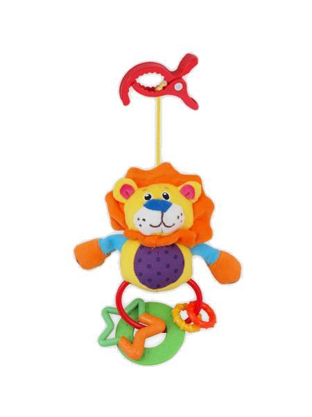 Plyšová hračka s hrkálkou Baby Mix lev s klipom