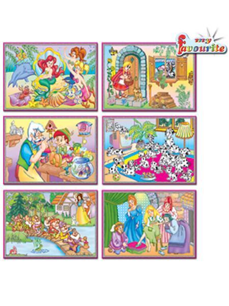 Skladacie obrázkové kocky 12 ks rozprávky žlté