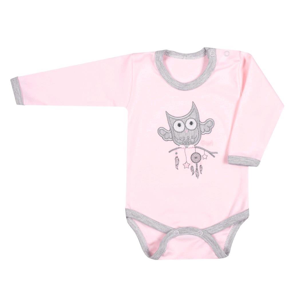 Dojčenské body New Baby Owl ružové-68 (4-6m)