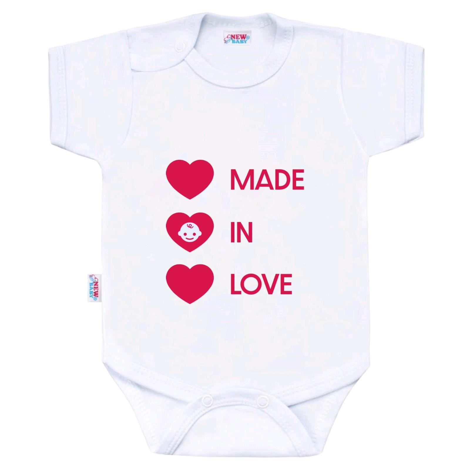 Body s potlačou New Baby MADE IN LOVE-74 (6-9m)