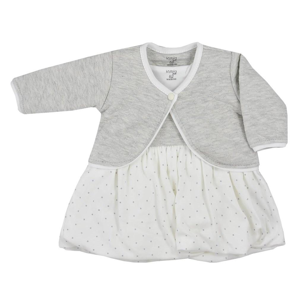 Dojčenské bavlnené šatôčky s bolerkom Koala Dots smotanové