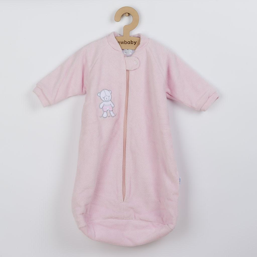 Dojčenský froté spací vak New Baby medvedík ružový