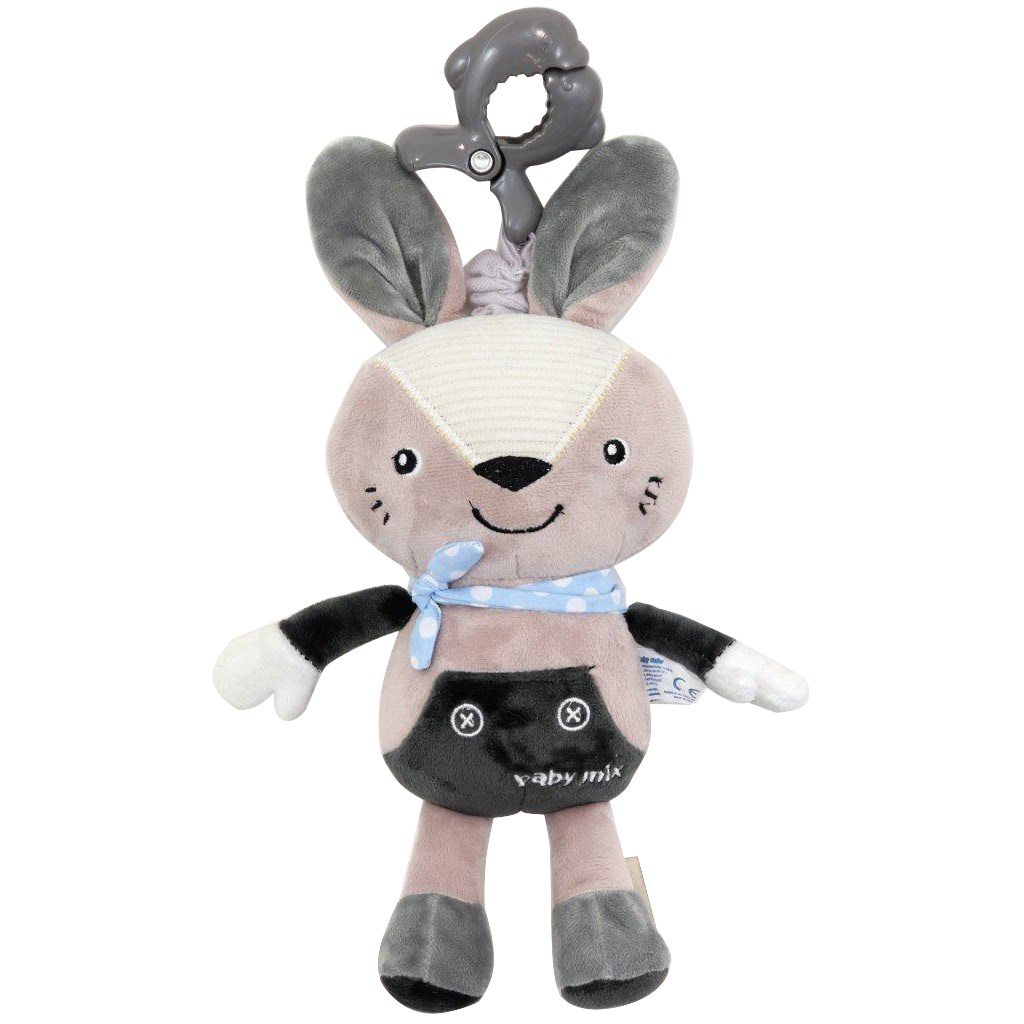 Detská plyšová hračka s hracím strojčekom Baby Mix Králiček sivý