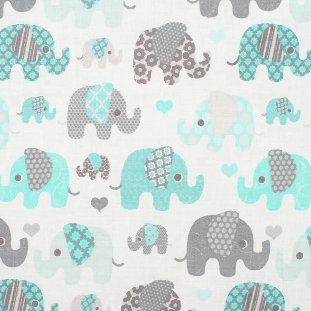 Obojstranný Set z Velvet do kočíka New Baby slony mätový