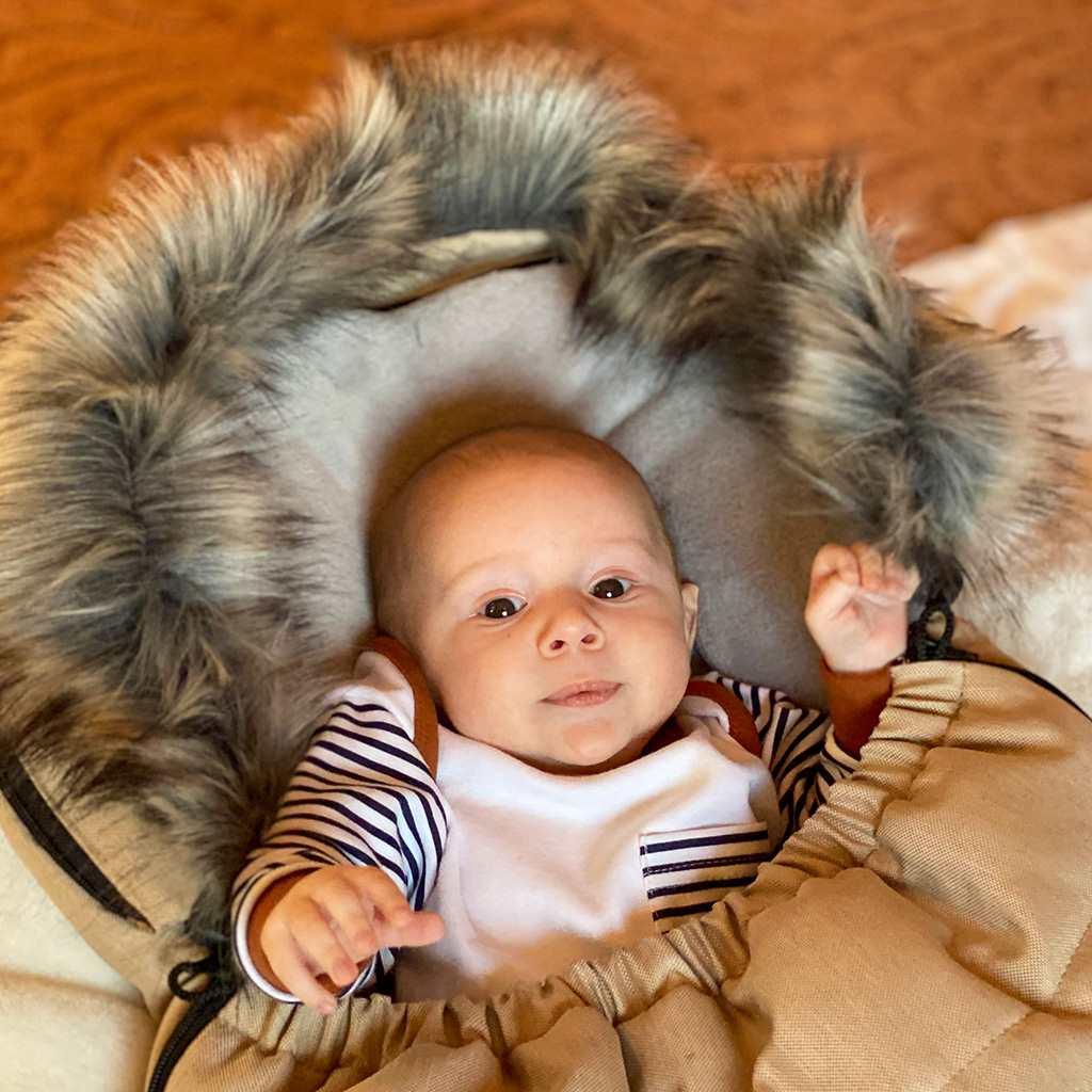 Detsky fusak NEW BABY s kožušinou svetlo sivý