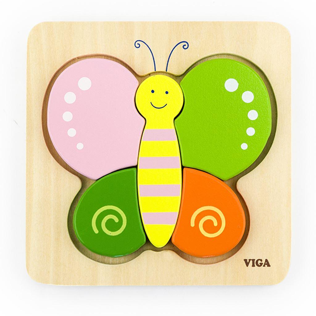 Drevené puzzle pre najmenších Viga Motýľ