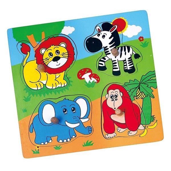 Detské drevené puzzle s úchytmi Viga ZOO