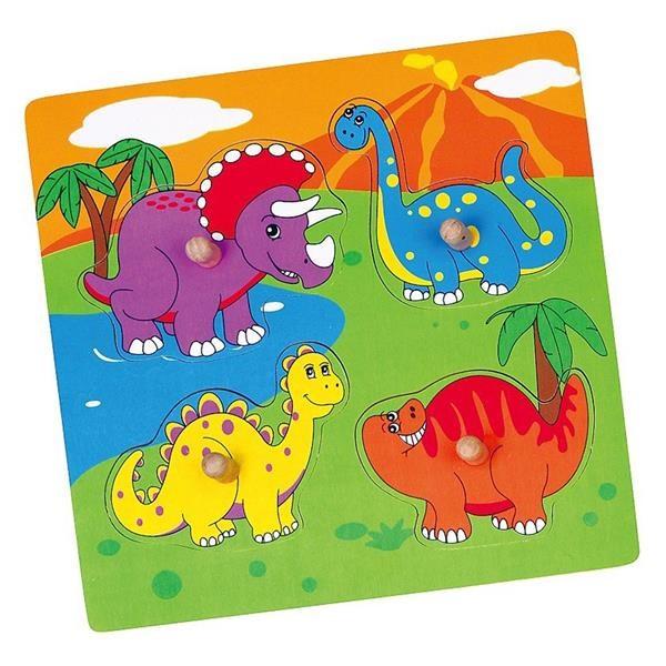 Drevené puzzle s úchytmi pre najmenších Viga Dino