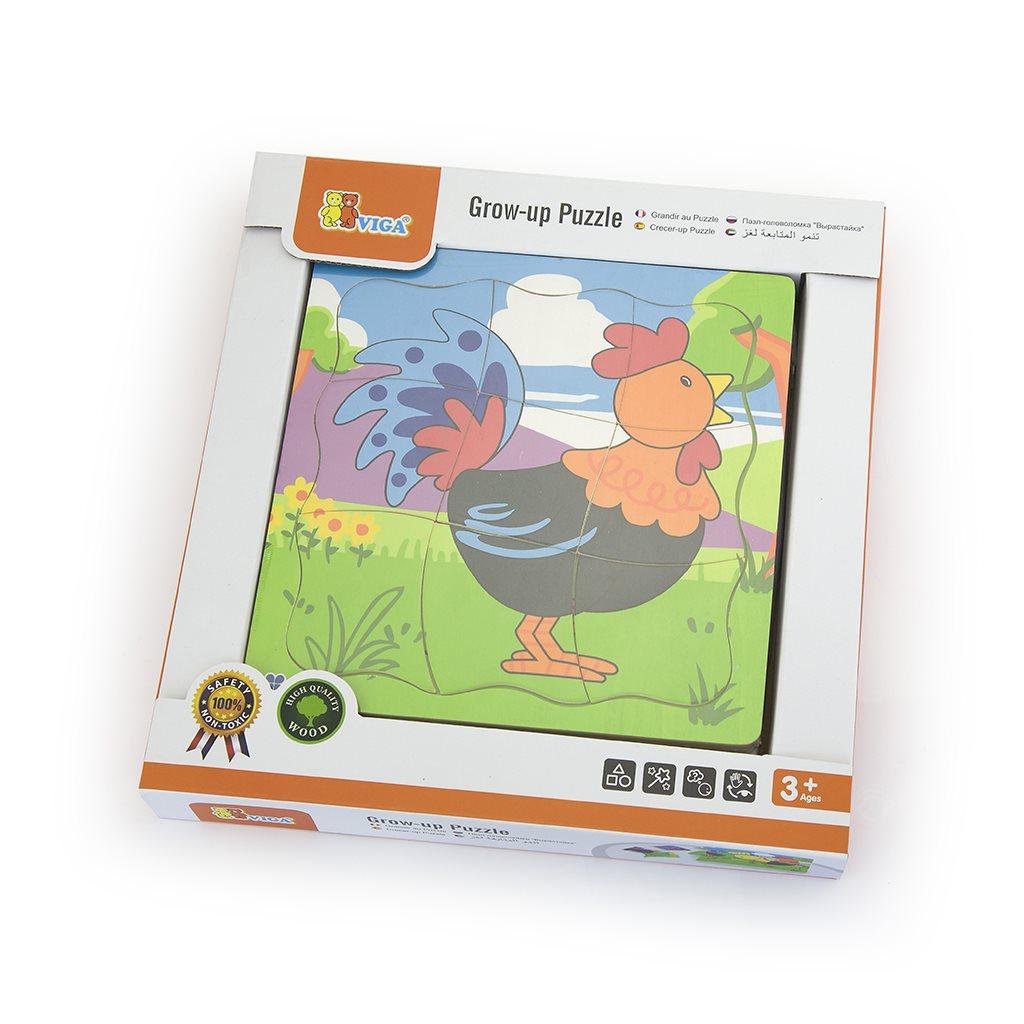 Detské drevené puzzle Viga Ako rastie kohútik